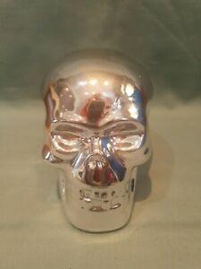 Chrome Silver Ceramic Freestanding 3D Skull Shaped Money Box GC