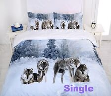 Single/KS/Double/Queen/ King Size Bed Quilt Doona Cover Set--Snow Wolf Family