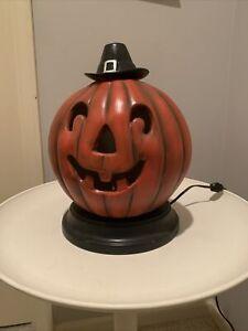 Halloween Ceramic Pumpkin Jack O Lantern with Light Vintage Orange Home Decor
