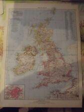 Antique 1957 German Atlas, Scotland Vintage School Map Great Britain