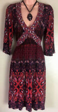 Dorothy Perkins Red Multi 3/4 Sleeve Knee Length Flared Empire Tea Dress Size 8