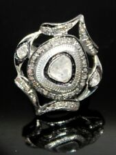 Victorian Vintage Style Natural Diamond Ring 925 Sterling Silver Rose Cut Uncut