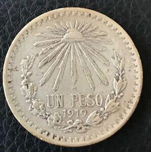 1919 Mexico 1 Peso Silver Coin KM454