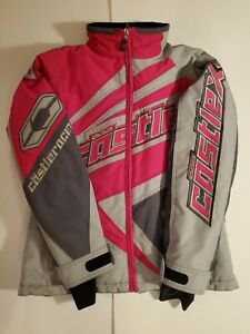 Castle X Racing Snowmobile Motorcycle Jacket Pink Gray Reflective Removable Line