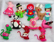 Lot 10 Vintage Felt Sequin Christmas Ornaments Bear Birds Bells Deer from Kits