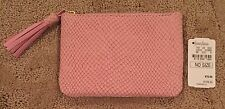 Nwt Women's Neiman Marcus Snake Embossed Leather Coin Purse, Light Pink