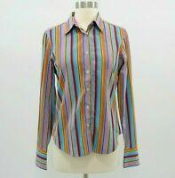 Robert Graham Shirt Blouse Womens Sz 6 Striped Colorful Pink Blue Purple