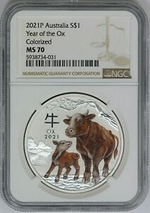 2021-P NGC Australia Lunar Year of the Ox Colorized 1 oz Silver MS70