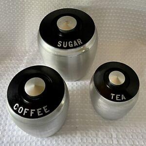 Vintage 1950's Kromex Spun Aluminum Canister Set Sugar Coffee Tea