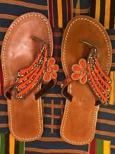 African beaded hand made leather slippers,flip flop, 42