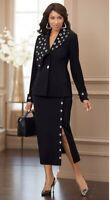 Midnight Velvet Briella Women's Black Grommet Trim Skirt Suit Size XL