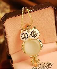 Fashion Opal Owl Crystal Rhinestone Gemstone Necklace Sweater Chain