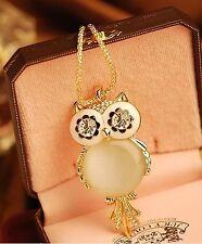 Fashion Opal Owl Crystal Rhinestone Gemstone Necklace Sweater Chain