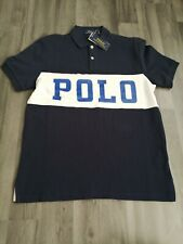 Mens Ralph Lauren Polo - Polo Shirt - Medium - Navy White - Slim Fit