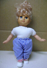 Vintage 12� Ugly Sleepy eyes Doll Stuffed body plastic head arms and legs