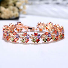 Rainbow Flower Style Multi Amethyst Peridot Morganite Rose Gold Plated Bracelets