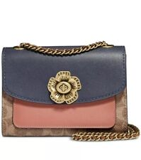❤️ Coach Parker 18 Signature Colorblock 69587 Tan/Peach/Gold Shoulder Bag