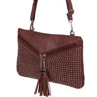BORSA borsetta POCHETTE donna con tracolla removibile e strass borchiati