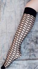 Black Knee High Retro Fishnet Socks