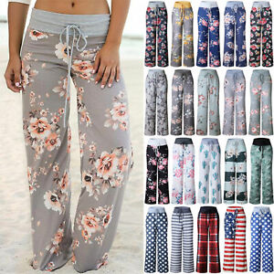 Ladies Floral Yoga Palazzo Trousers Women Casual Summer Wide Leg Pants Plus Size
