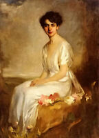 Oil painting karoly brocky - portrait of an elegant young woman in a white dress