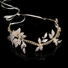 Luxury Gold Rhinestone Wedding Bridal Hair Comb Leaf Pearl Beaded Gift Tiara