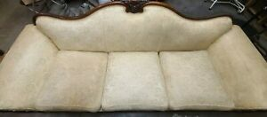 4 Piece Antique Sofa Set - 2 arm chairs and soda with wood trim, 1 wooden table