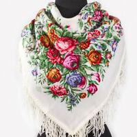 "35x35"" Russian Pavlovo Posad Shawl White Wool Pashmina Wrap Floral Pattern"
