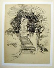 LANDSCAPE STEPS TO A CHURCHYARD  SUSAN BEATRICE PEARSE PENCIL C1920