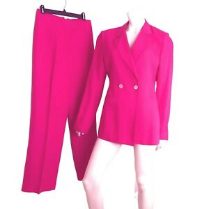 Bloomingdales Suit Set Double Breasted Pink Wide Leg Women Size 12 Bright 2 Pc