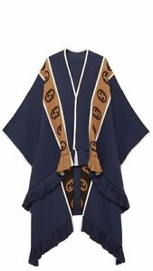 100% Authentic GUCCI Wool Poncho With Interlocking G Stripe In Blue