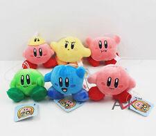 6pcs/set Kirby Plush Keychains Super Mario kirby Plush Doll Toys 6cm Pendant New