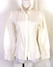 vtg 70s Simeon Textured White/Yellow Plaid Top Blouse Shirt princess M