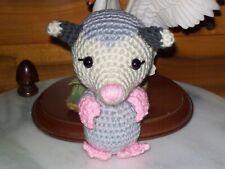 Adorable crochet handmade 6 in Baby Opossum animal toy doll nursery
