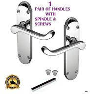 Victorian Scroll on Shaped Back Plate Door Handles Authentic Epsom Lever Chrome