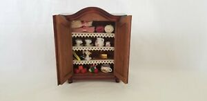 Cupboard dollhouse w/ household accessories -sewing machine, iron, tea set& more