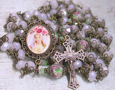 "Queen Pink Rose Rosary AB Czech White Jade Crystals Antique Bronze 33"" & fr GiFT"