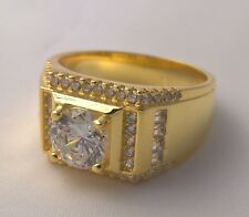 G-Filled Men's 18k yellow gold simulated diamond ring glistening Gent's bling 11
