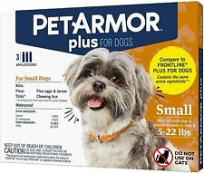 3 TUBES PET ARMOR+ FOR DOGS 5-22 LBS KILLS FLEAS/FLEA EGGS/TICKS/CHEWING LICE
