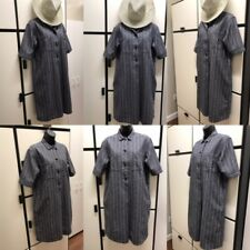 Margaret Howell XS Linen Hemp Gray Chambray White Thin Stripe Shirt Dress MHL I