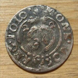 Antique Required Valuable Lithuanian Silver Coin Zygimantas III Vaza (#3), 1622.