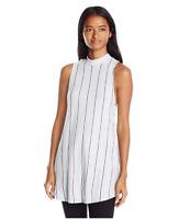 Michelle by Comune Juniors Merton Mock Neck Jersey Stripe Tank, White/Black, L