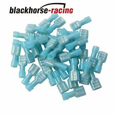 100Pcs Fully Insulated Blue Female Electrical Spade Crimp Connector Terminal New