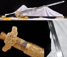 "Chinese Sword ""Peony Jian""(劍) Copper Fitting Pattern Steel Sharp Ebony sheath"
