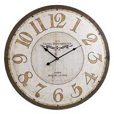 60cm Extra Large Round Wooden Wall Clock Vintage Retro Antique Distressed 49 Bond Street