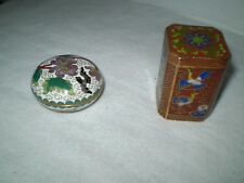 Elegant Cloisonne Enamel bird Pill Boxes Round and Square