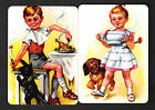 Wide Swap/Playing Cards - Girl Carrying Bowl of Food & Boy Eating x 2