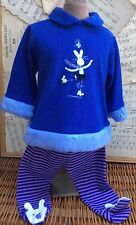 ICE SKATING BUNNY RABBIT 2pc Purple Baby Legging Footsie Set Le Top Outfit 9m