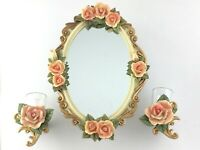 Rose Victorian Wall Mirror Candle Sconce Set Hand Painted Set S754