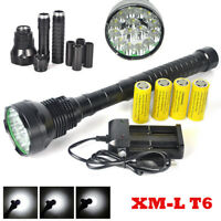 Brightest 18000lm 15x XM-L T6 LED Rechargeable Flashlight Torch Light Lamp Camp